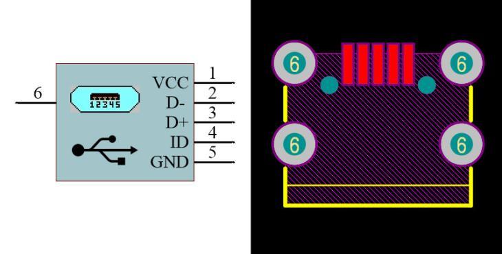 USB Micro Type-B Female RA